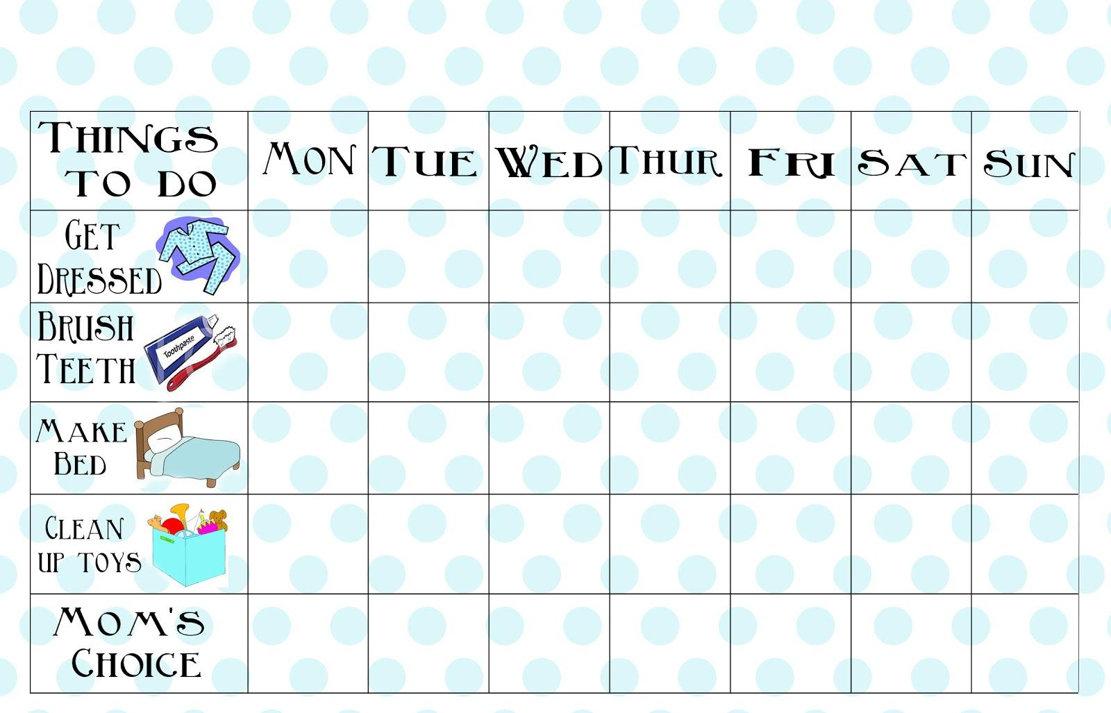 Free Printable Chore Chart - Free Printable Chore Charts