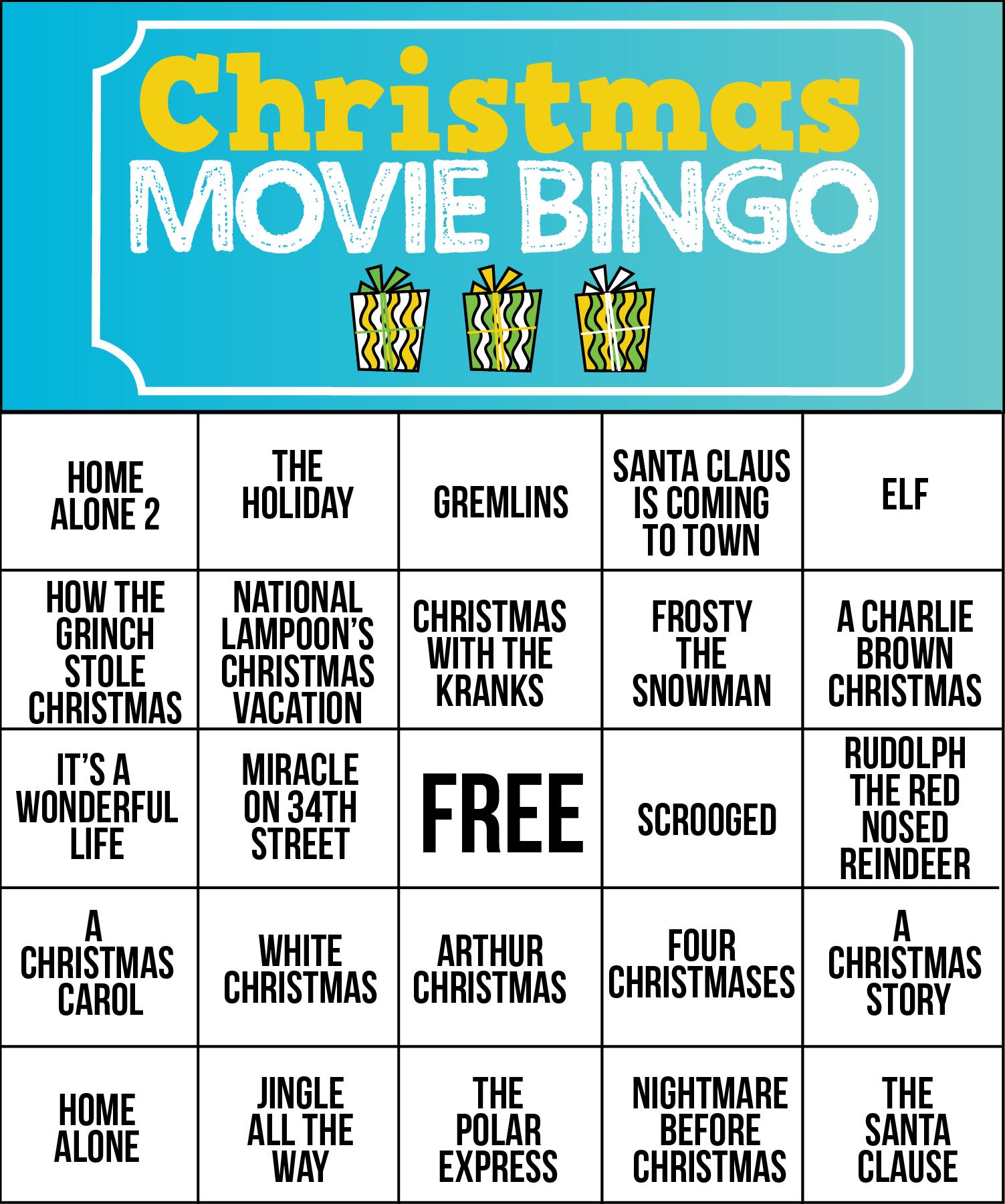 Free Printable Christmas Movie Bingo Cards | Christmas Games - Free Printable Christmas Board Games
