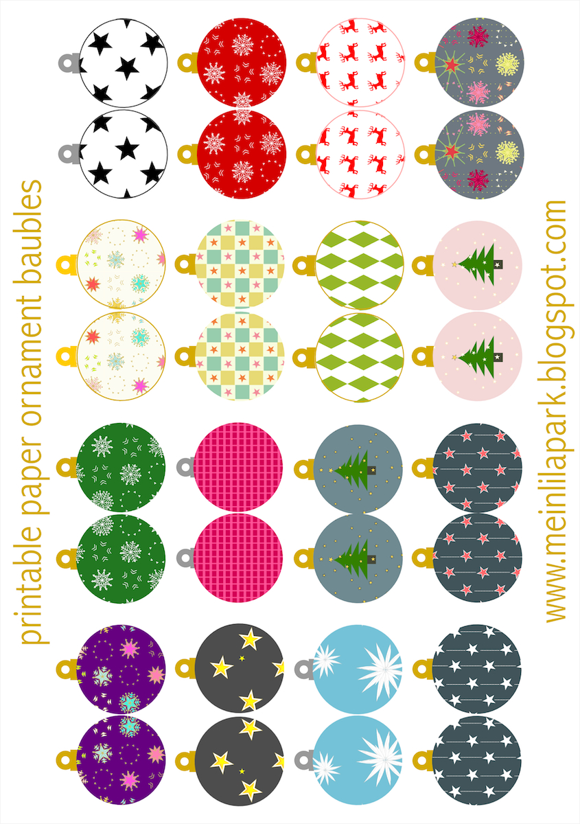 Free Printable Christmas Ornaments: Baubles - Ausdruckbarer - Free Printable Christmas Decorations