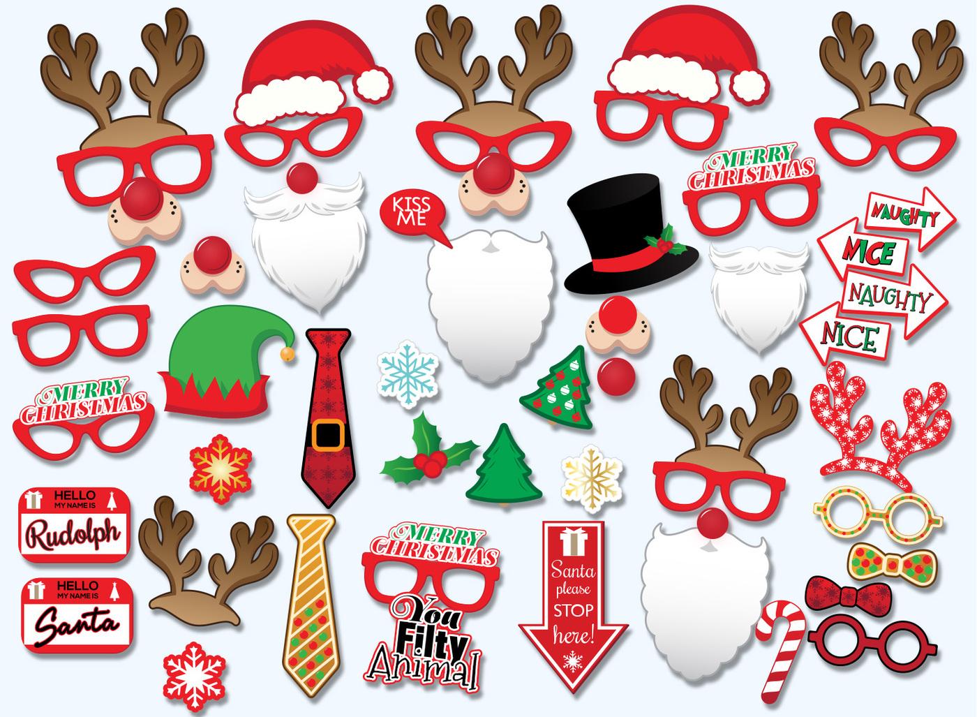 Free Printable Christmas Photo Booth Props – Festival Collections - Free Printable Christmas Props