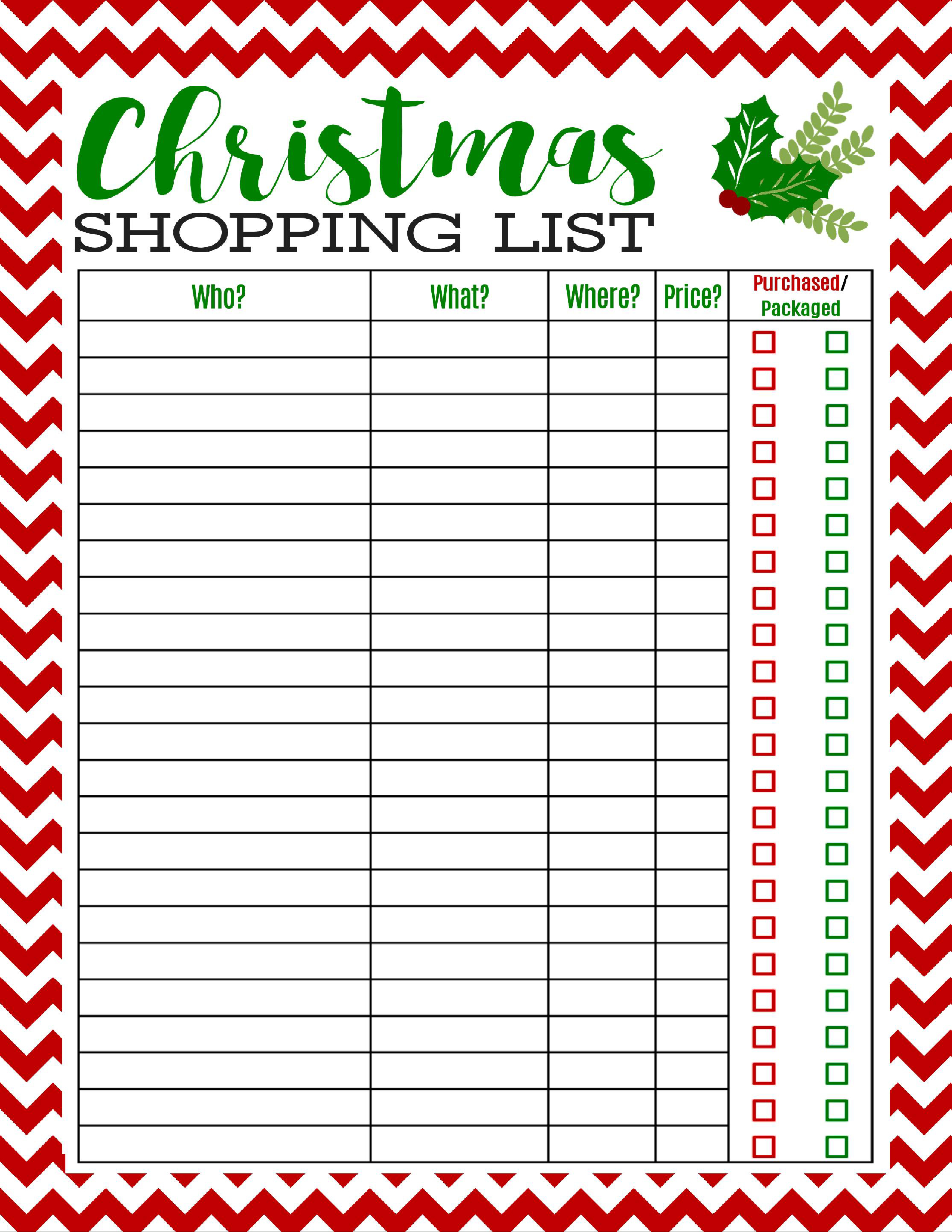 Free Printable Christmas Shopping List | Best Of Pinterest - Free Printable Christmas Wish List