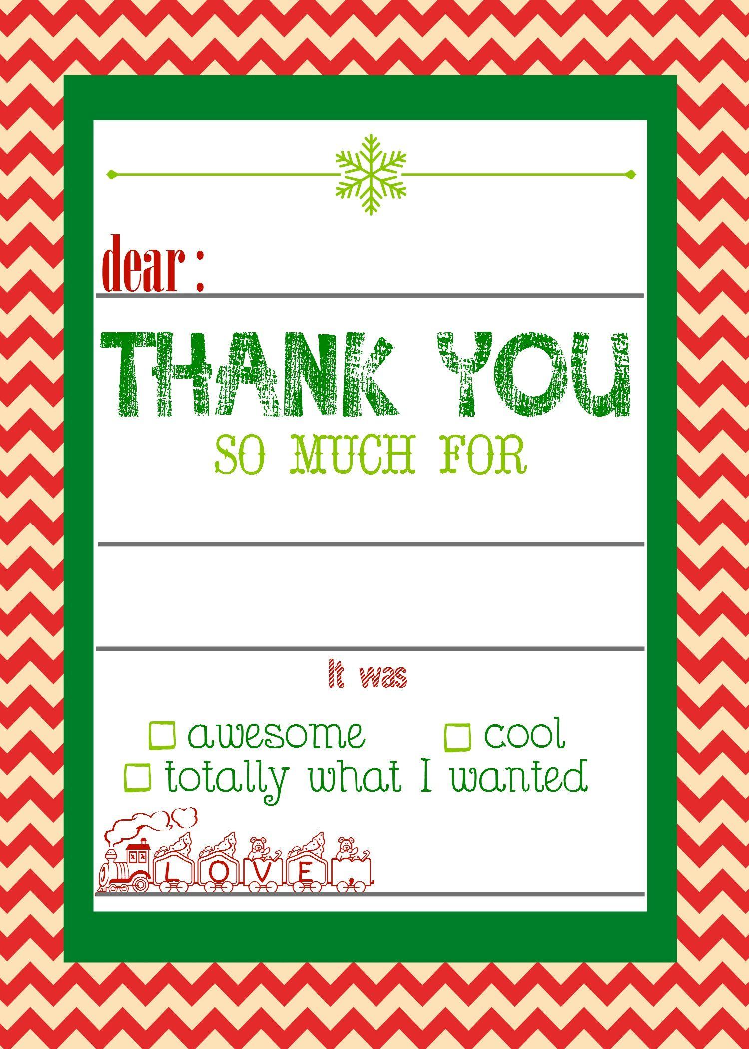 Free, Printable Christmas Thank You Cards For Kids   Christmas - Christmas Thank You Cards Printable Free