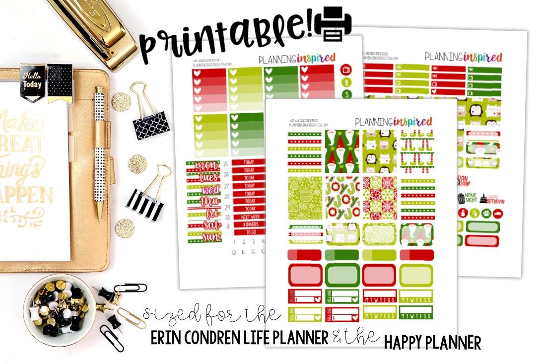 Free Printable Christmas Weekly Sticker Kit - Planning Inspired - Happy Planner Free Printable Stickers