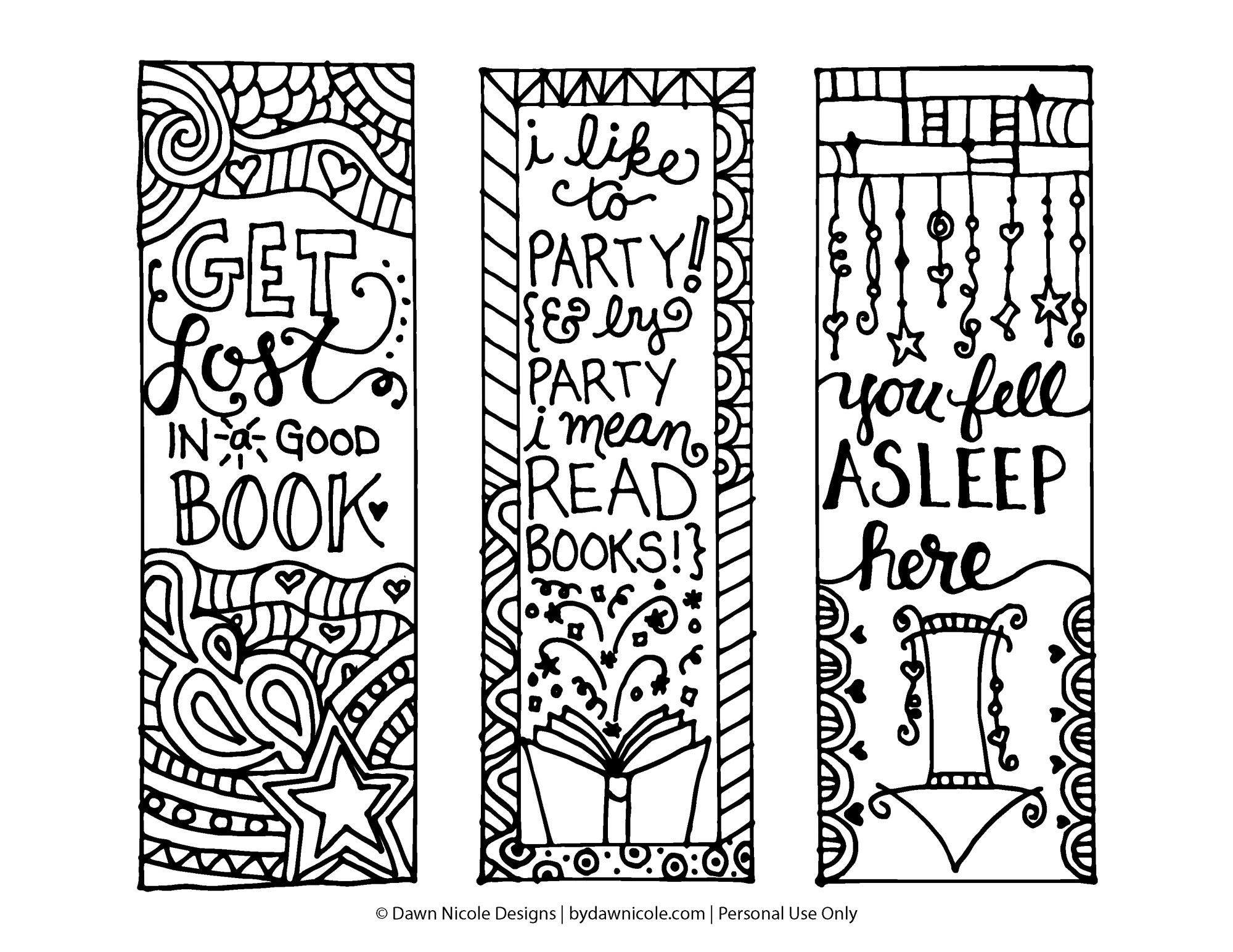 Free Printable Coloring Page Bookmarks   Dawn Nicole Designs® - Free Printable Bookmarks For Libraries