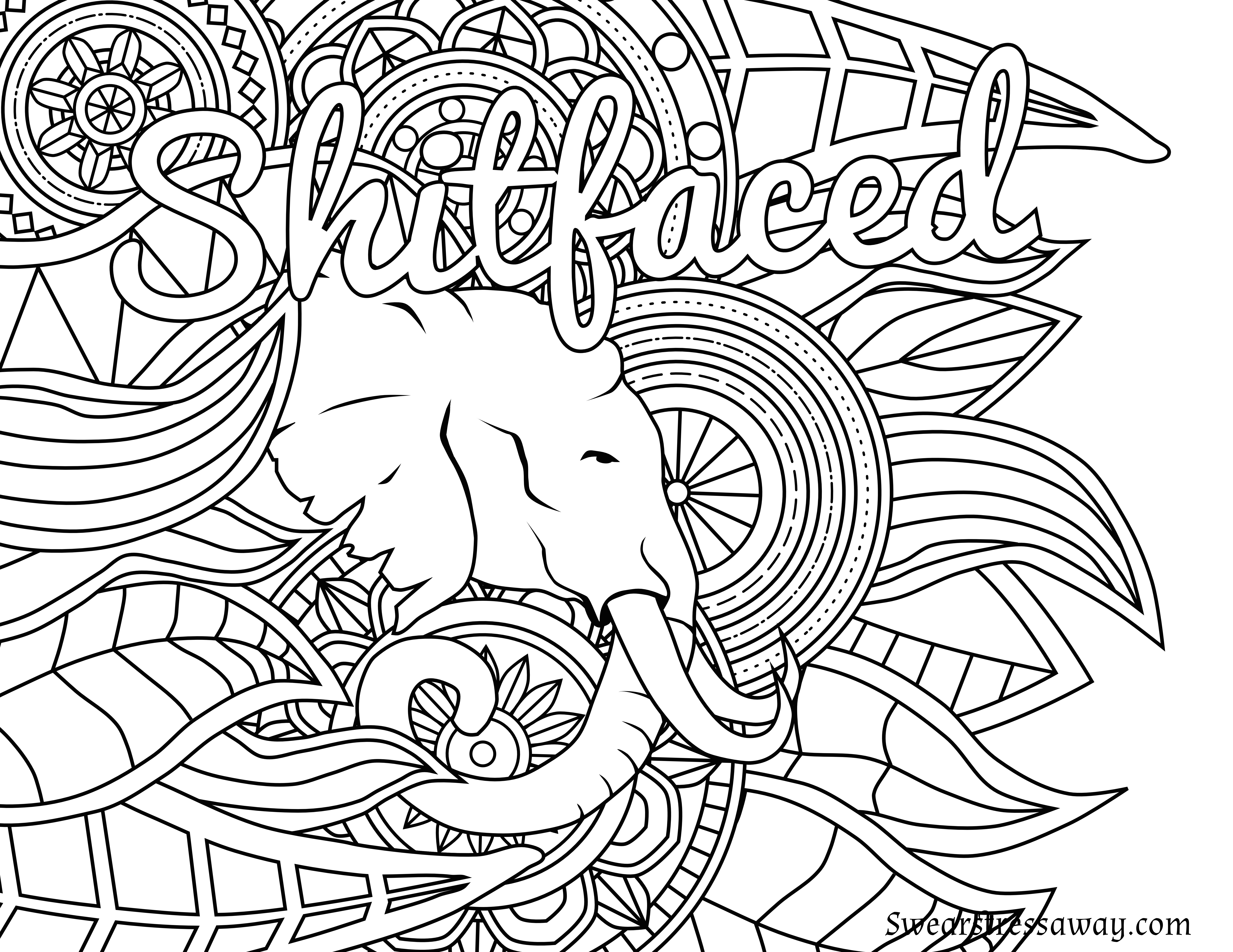 Free Printable Coloring Page - Shitfaced - Swear Word Coloring Page - Free Printable Swear Word Coloring Pages