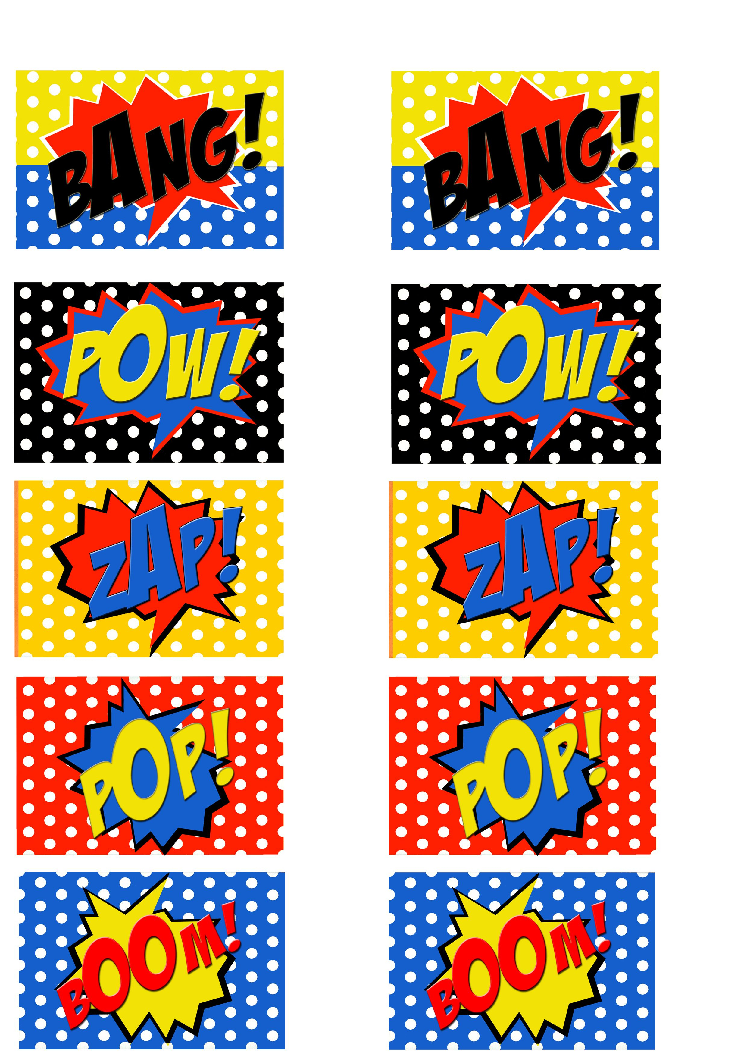 Free Printable Comic Book Word Cut Outs | Superman Birthday - Free Printable Superhero Words