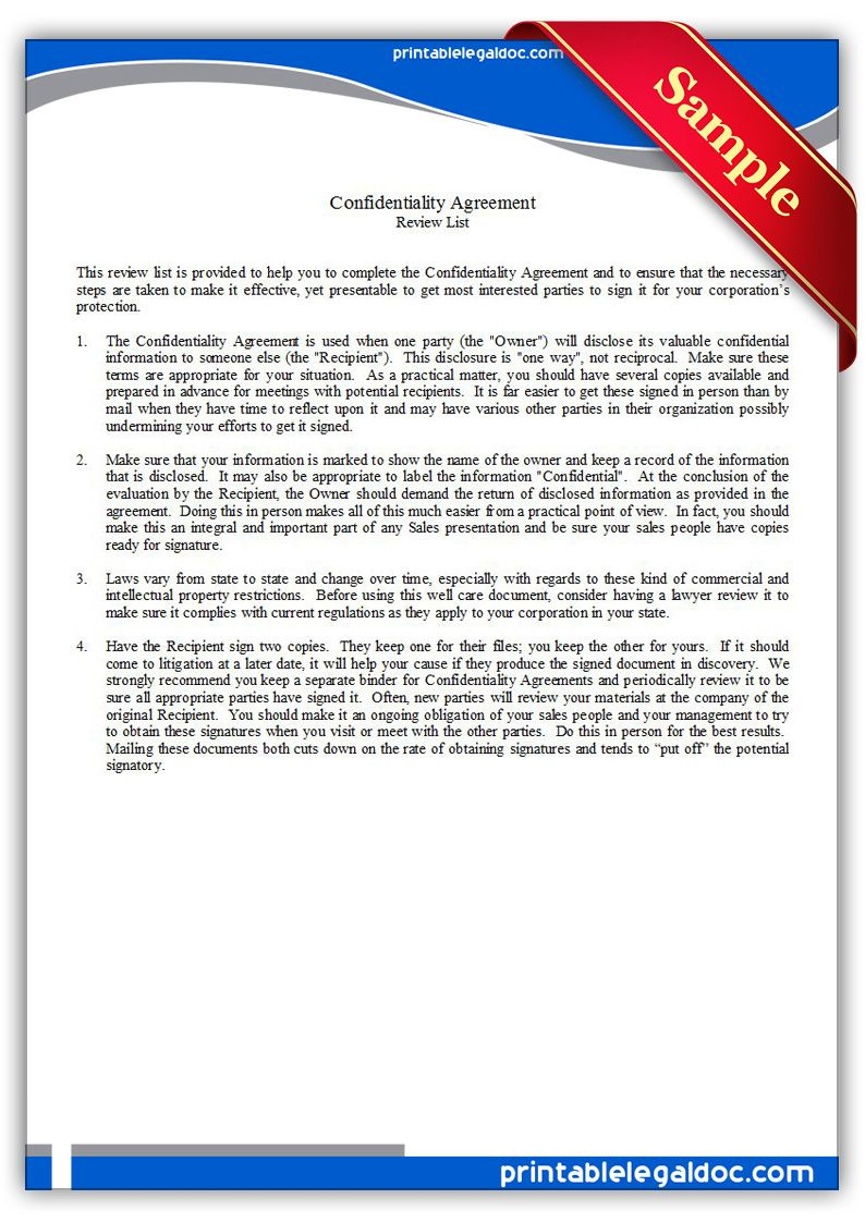 Free Printable Confidentiality Agreement Legal Forms | Free Legal - Free Legal Forms Online Printable