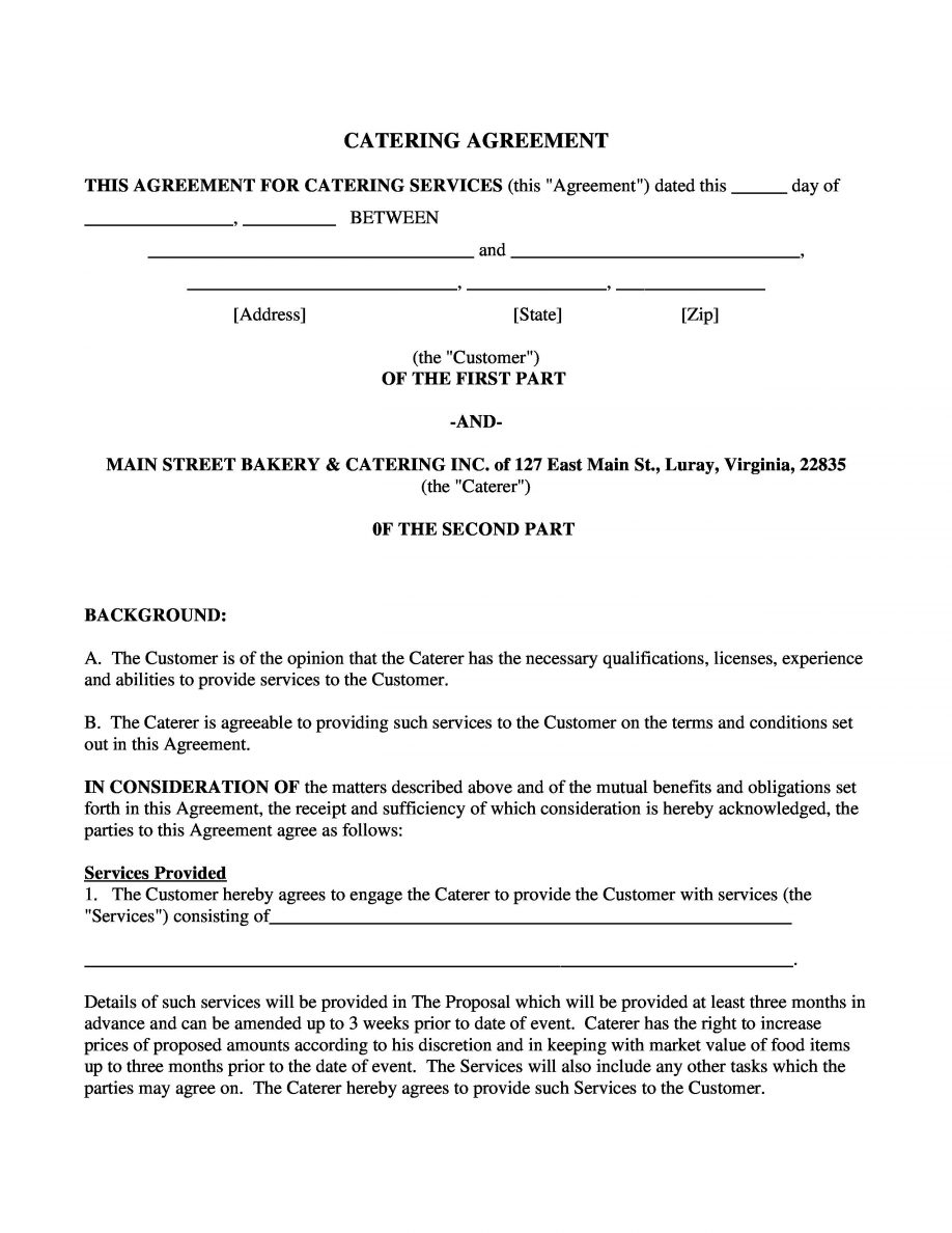 Free Printable Construction Contracts Catering Agreement Contract - Free Printable Construction Contracts