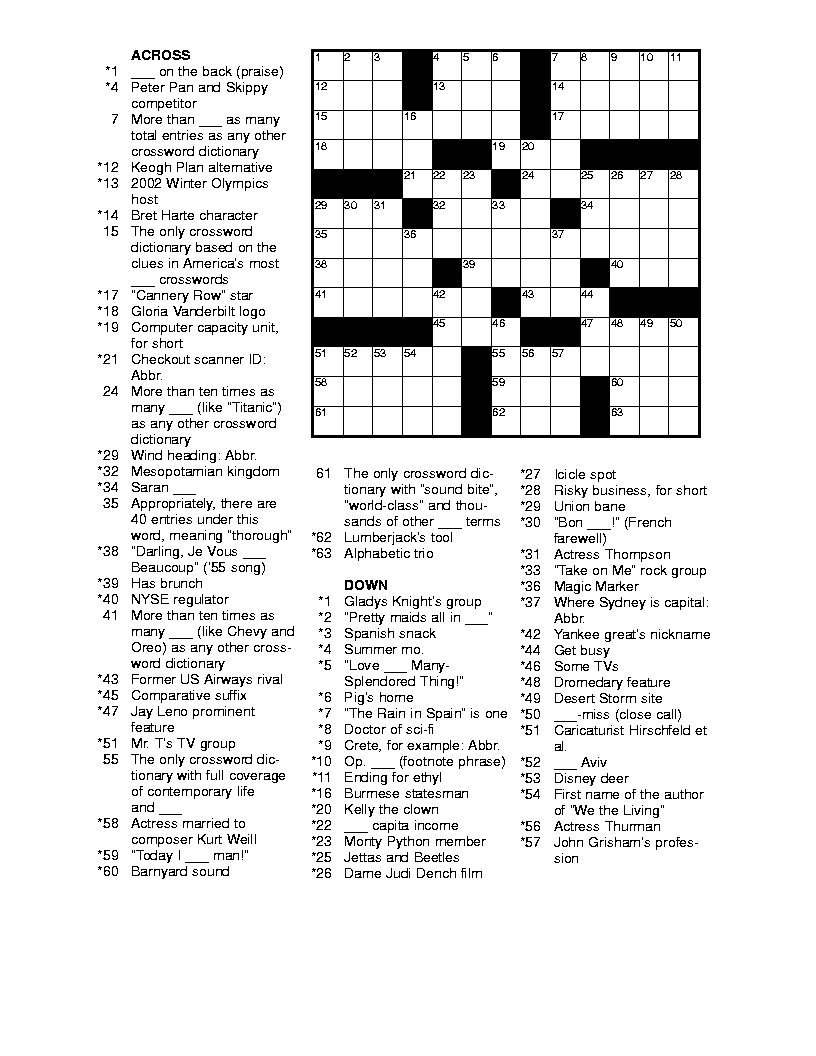 Free Printable Crossword Puzzles For Adults | Puzzles-Word Searches - Printable Newspaper Crossword Puzzles For Free
