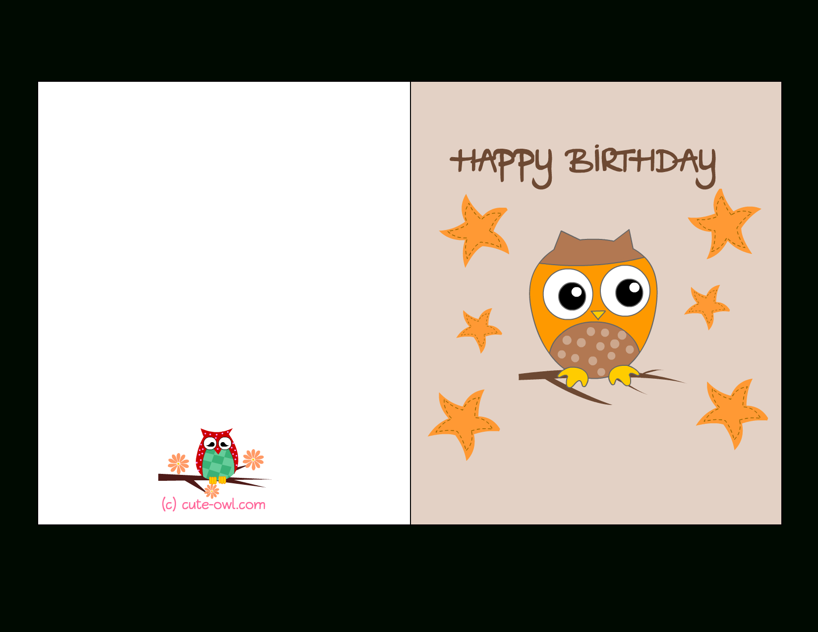 Free Printable Cute Owl Birthday Cards - Free Printable Bday Cards