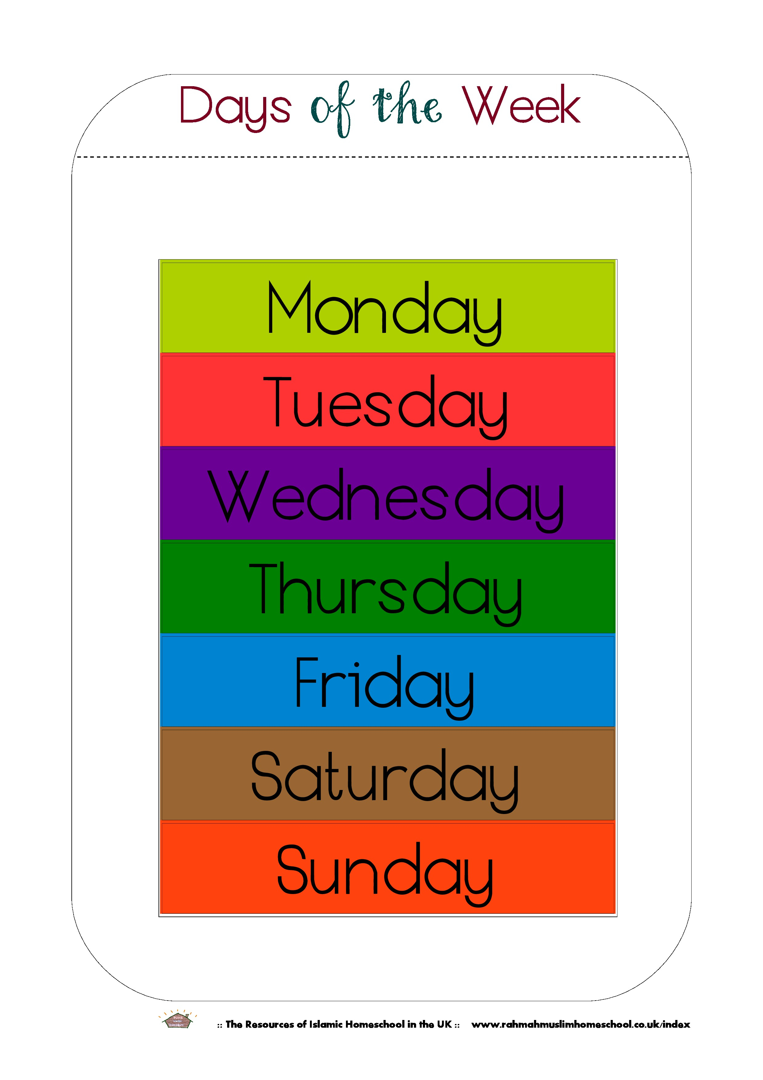 Free Printable Days Of The Week Workbook And Poster | The Resources - Free Printable Days Of The Week Cards