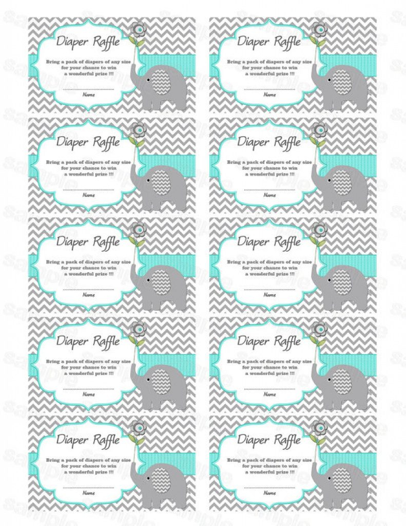 Free Printable Diaper Raffle Tickets Elephant | Free Printable - Free Printable Diaper Raffle Tickets Elephant