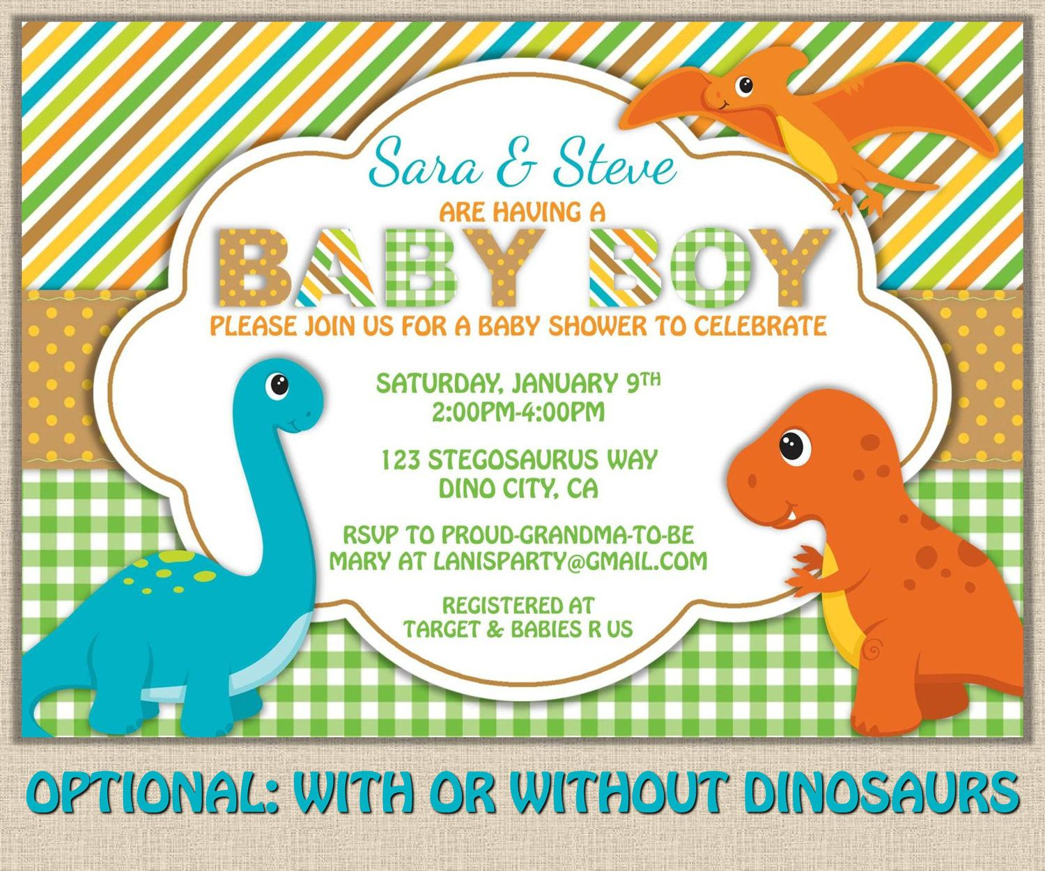 Free Printable Dinosaur Baby Shower Invitation | My Kaden - Free Printable Dinosaur Baby Shower Invitations