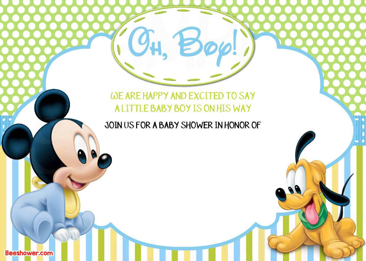 Free Printable Disney Baby Shower Invitations | Free Printable - Free Printable Baby Mickey Mouse Birthday Invitations