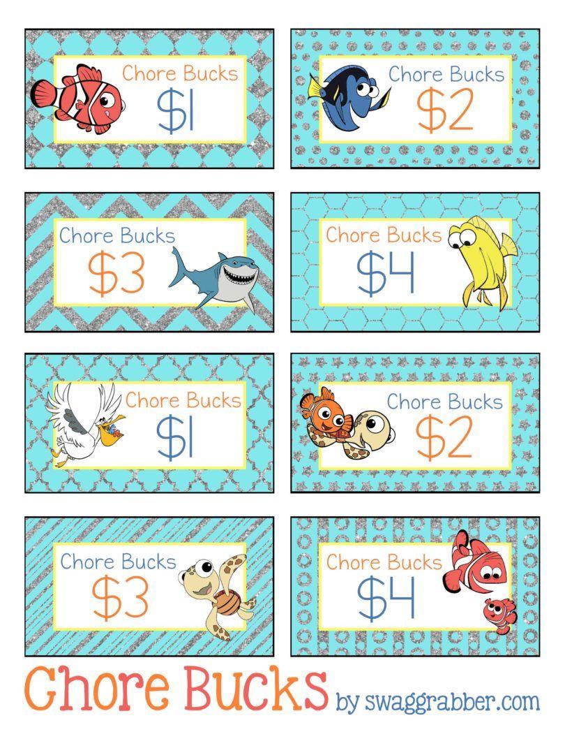 Free Printable Disney Finding Nemo Chore Bucks   Family, Fun, Food - Free Printable Chore Bucks