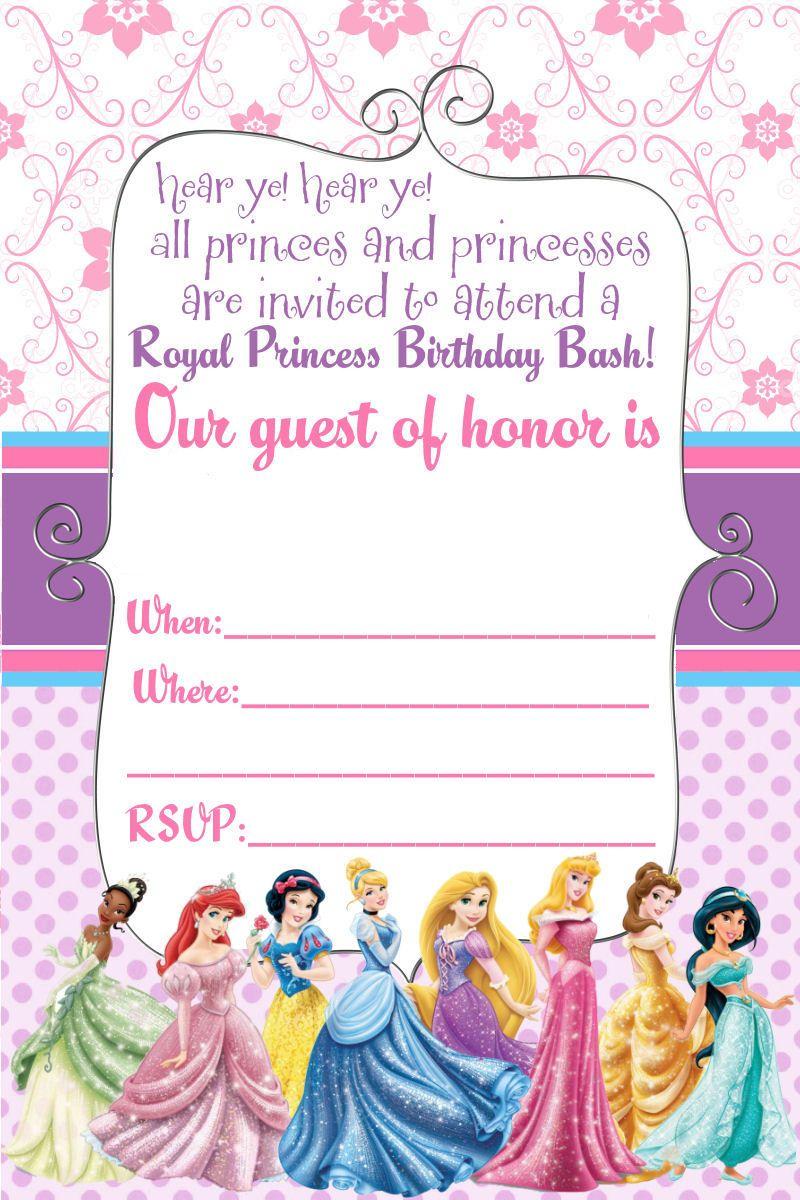 Free Printable Disney Princess Ticket Invitation | Printable - Free Printable Princess Invitation Cards