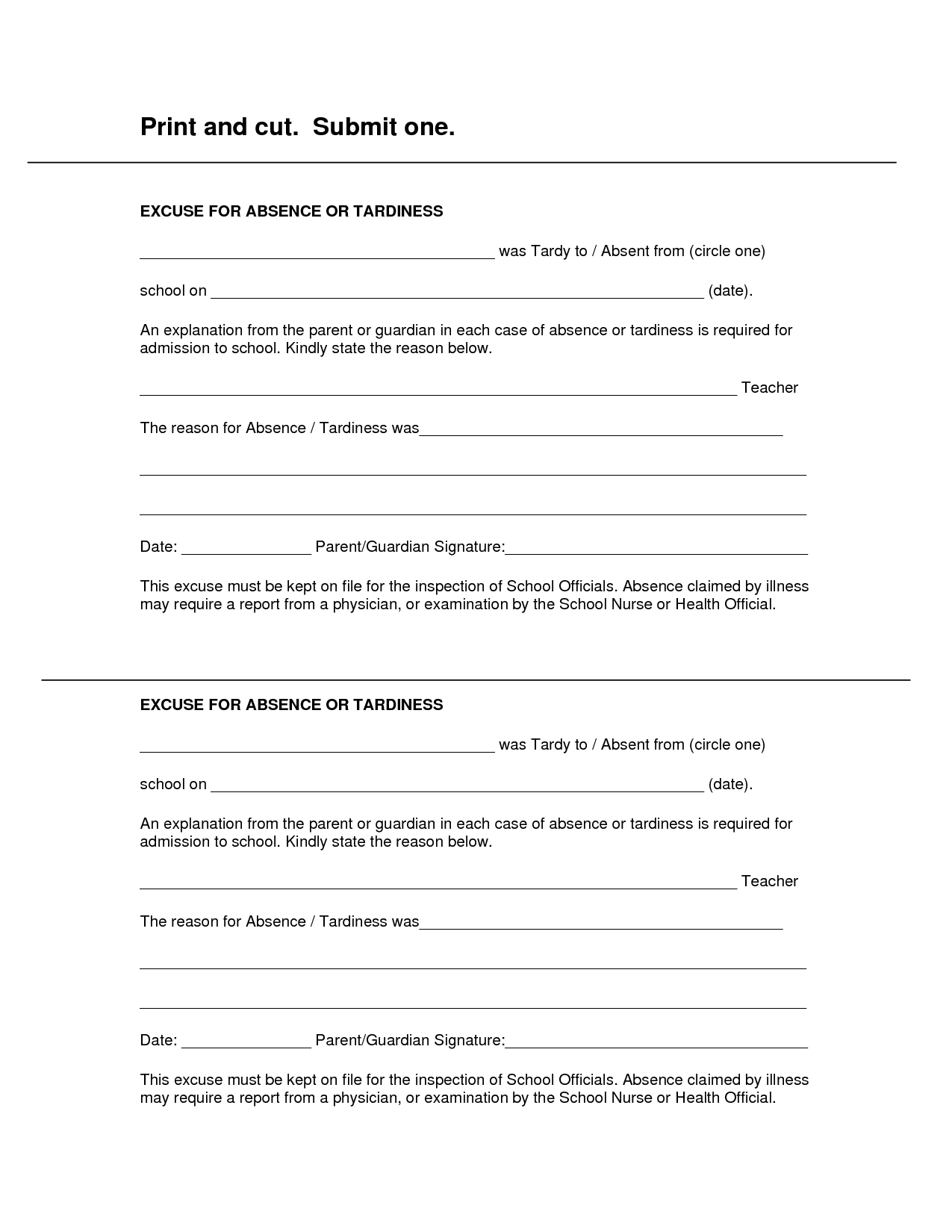 Free Printable Doctors Excuse For Work | Rota Template - Free Printable Doctors Notes Templates