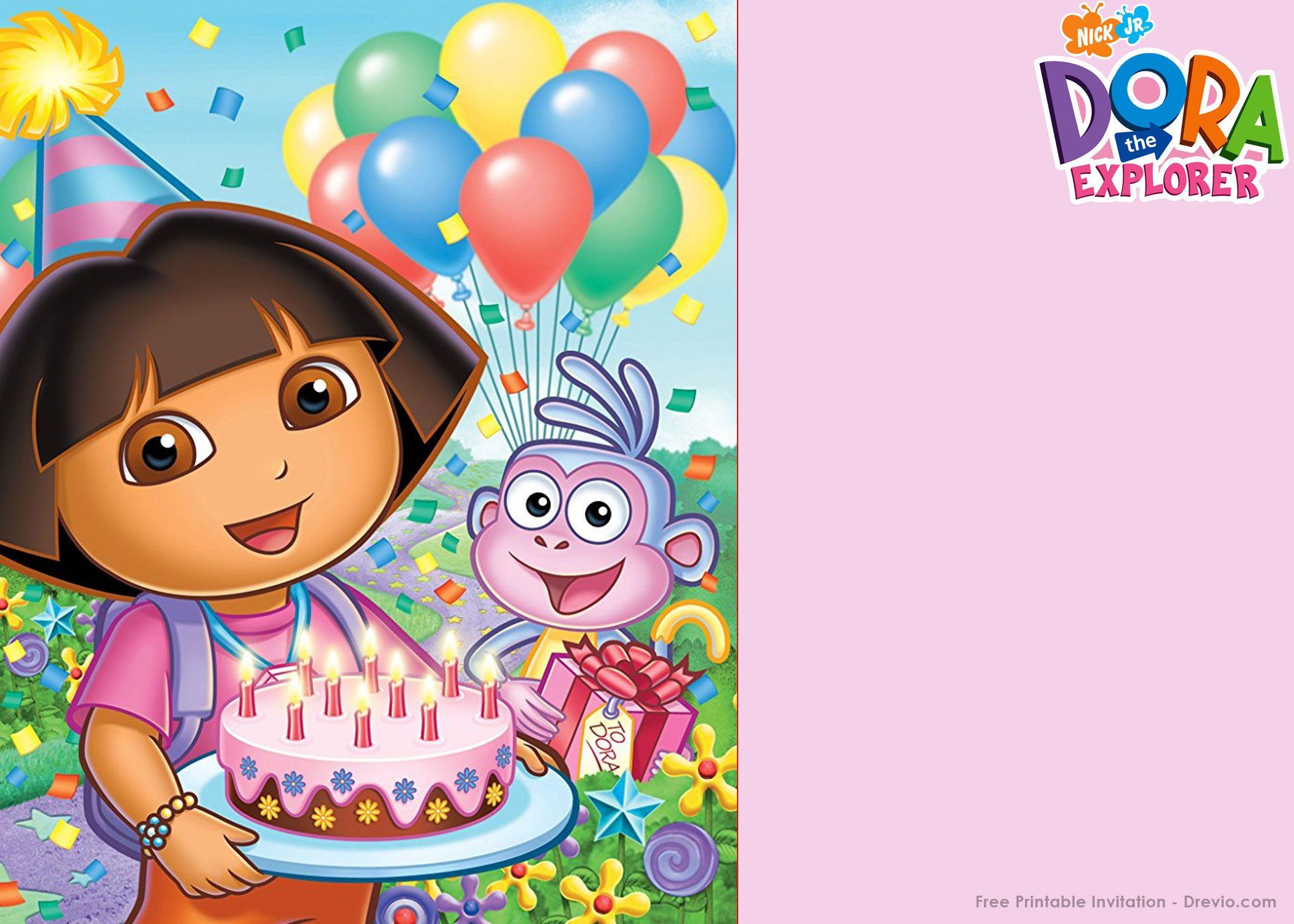 Free Printable Dora The Explorer Party Invitation Template - Dora The Explorer Free Printable Invitations