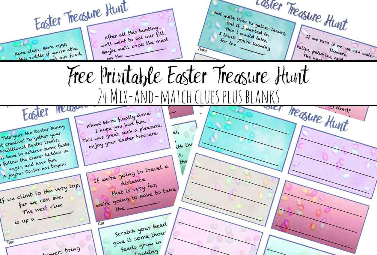 Free Printable Easter Treasure Hunt: 24 Mix & Match Clue Plus Blanks - Free Printable Treasure Hunt Games