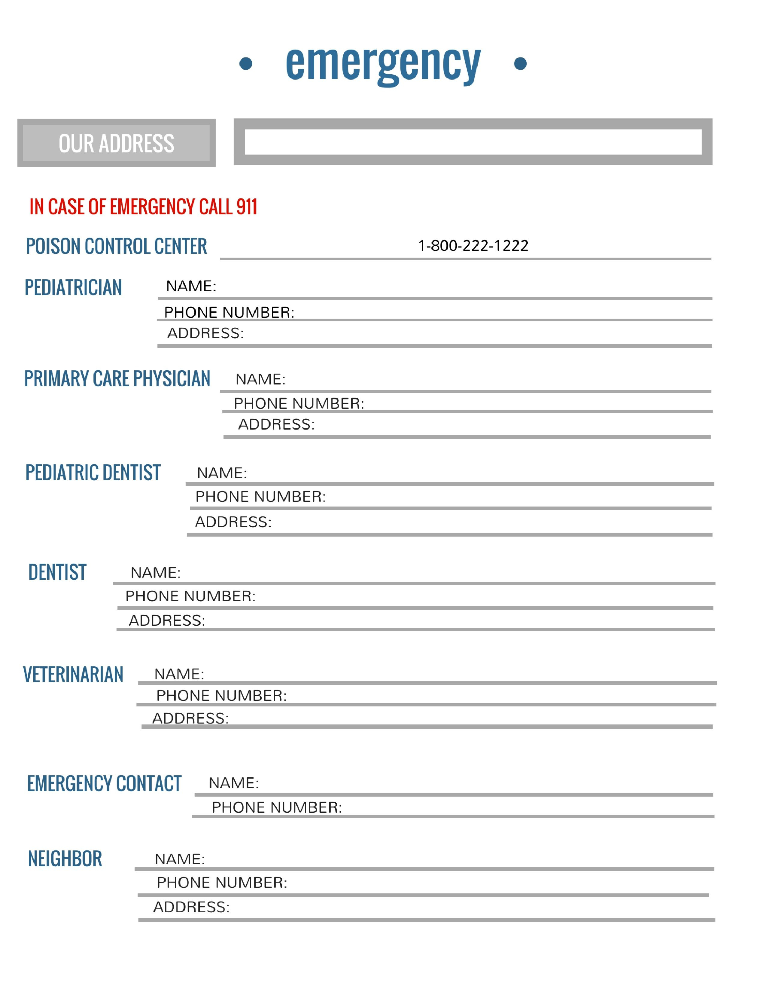 Free Printable Emergency Contact List For Families | Printables - Free Printable Emergency Phone List