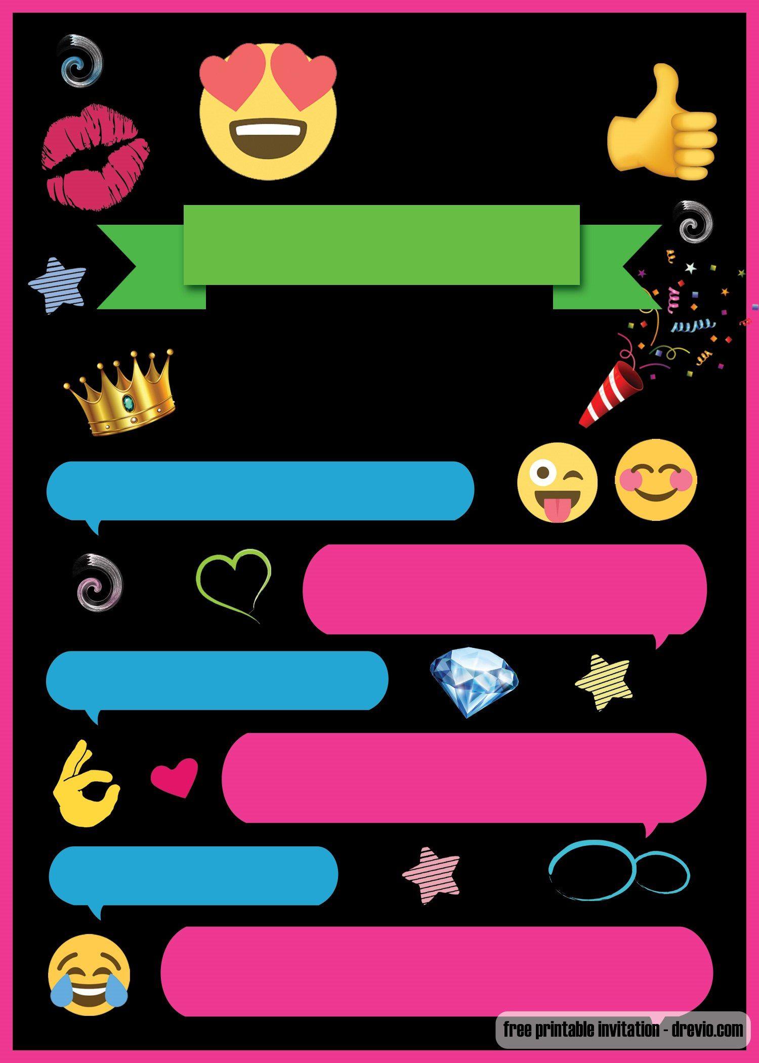 Free Printable Emoji Chat Invitation   Q Party   Pinterest   Free - Emoji Invitations Printable Free