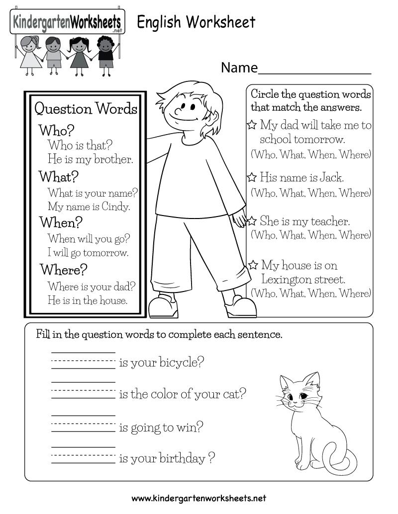 Free Printable English Worksheet For Kindergarten - Free Printable Ela Worksheets