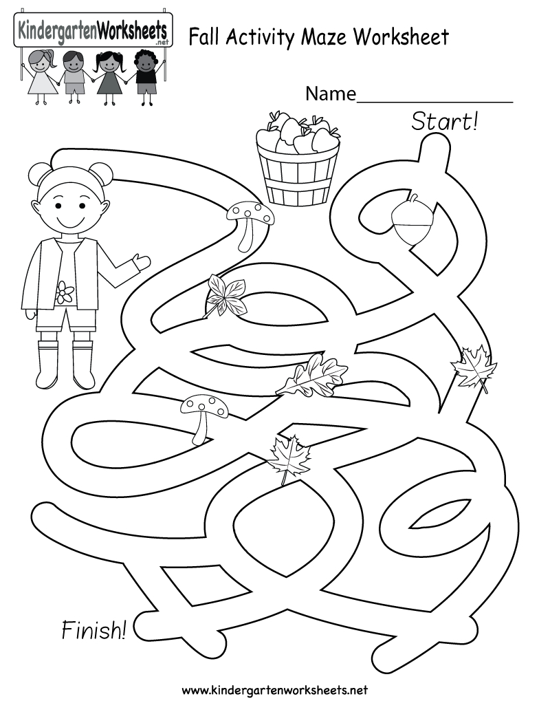 Free Printable Fall Activity Maze Worksheet For Kindergarten - Free Printable Autumn Worksheets
