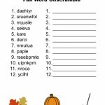 Free Printable   Fall Word Unscramble | Games For Senior Adults   Free Printable Jumble Word Games