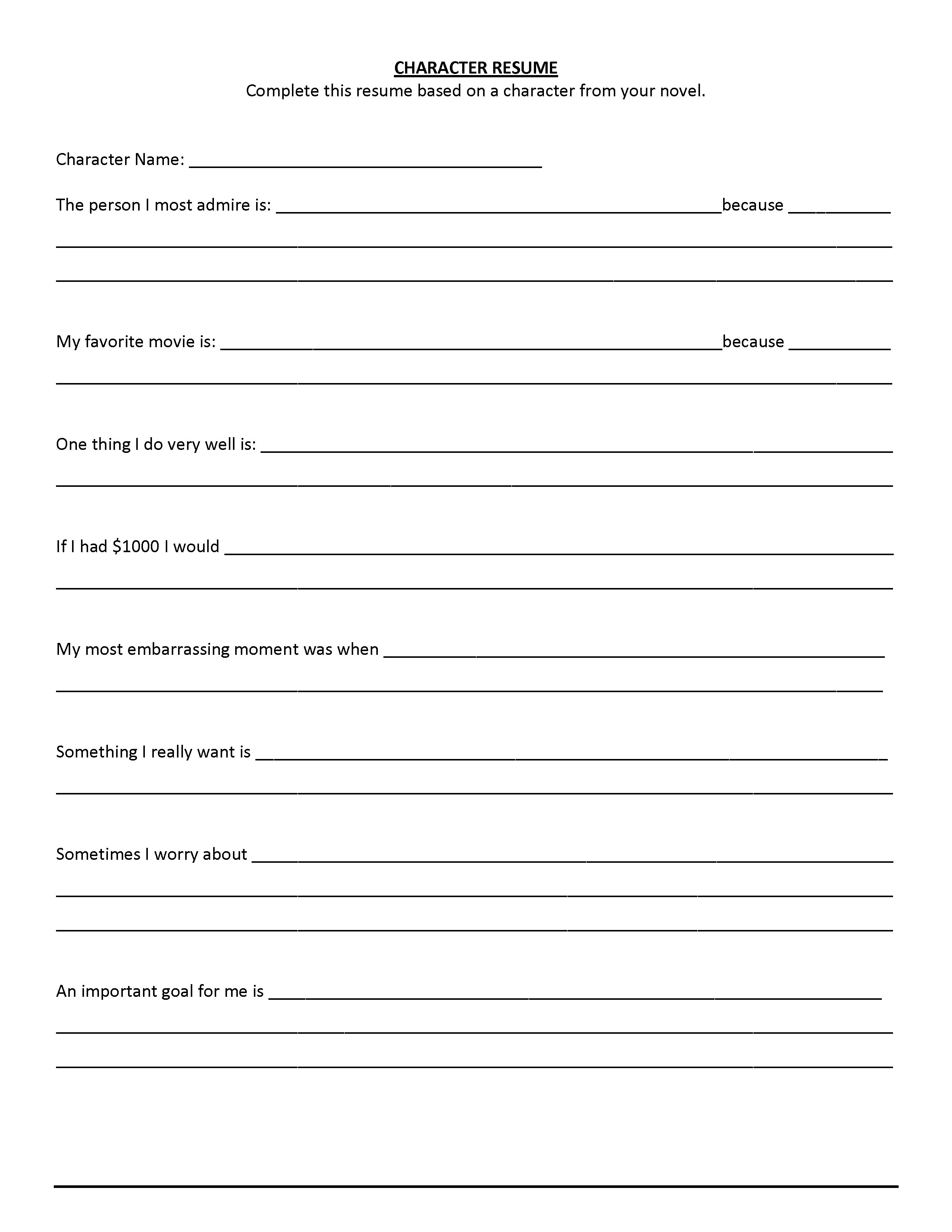 Free Printable Fill In The Blank Resume Templates     Business - Free Printable Fill In The Blank Resume Templates