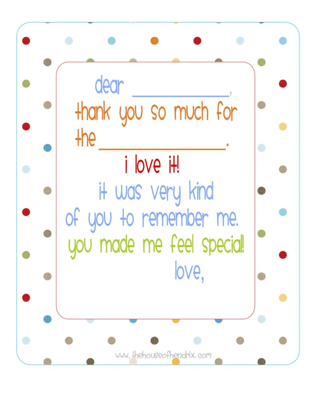 Free} Printable Fill In The Blank Thank You Note (Polka Dots) | Misc - Free Printable Thank You Cards For Soldiers