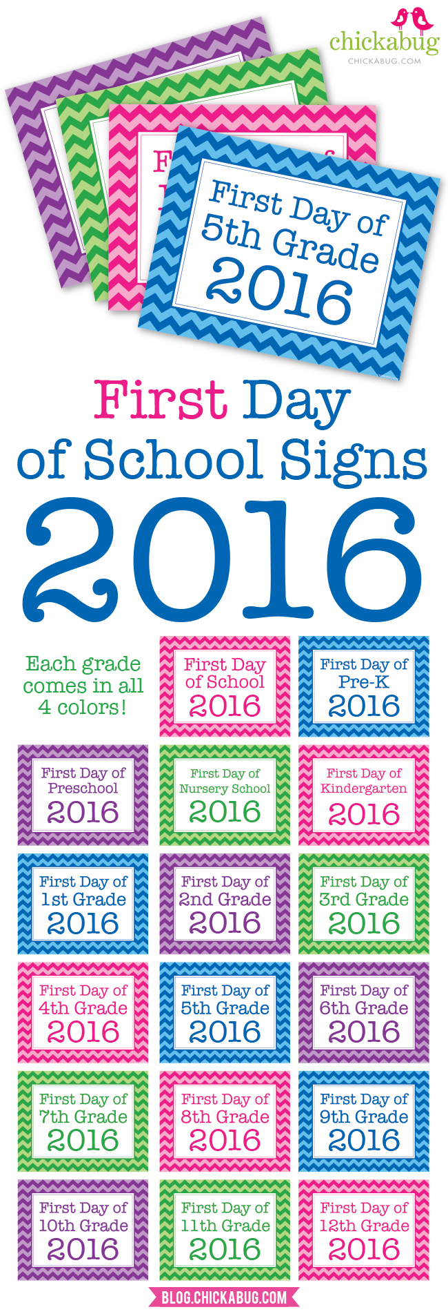Free Printable First Day Of School Signs 2016 | Chickabug - Free Printable First Day Of School Signs