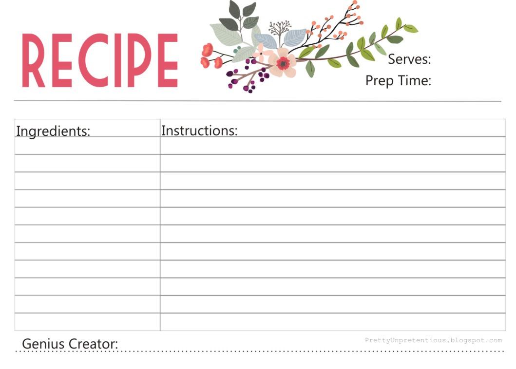 Free Printable : Floral Recipe Card - Free Printable Recipe Cards