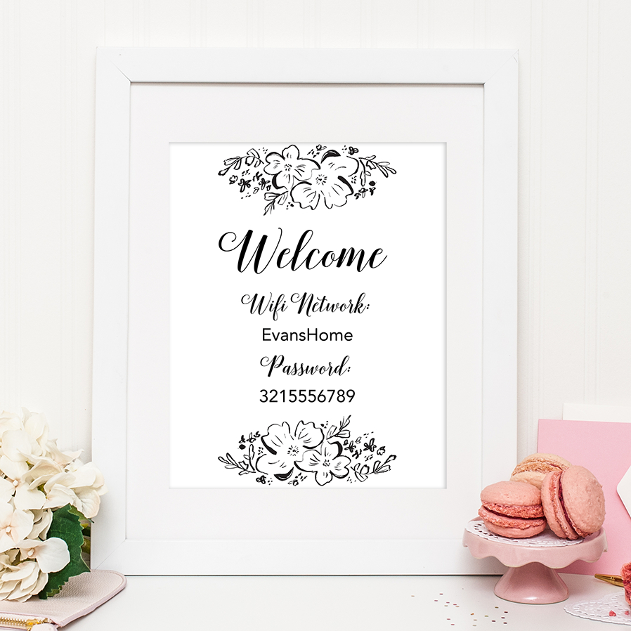 Free Printable Floral Wifi Password Sign En 2019 | Typo Airbnb - Free Printable Wifi Sign