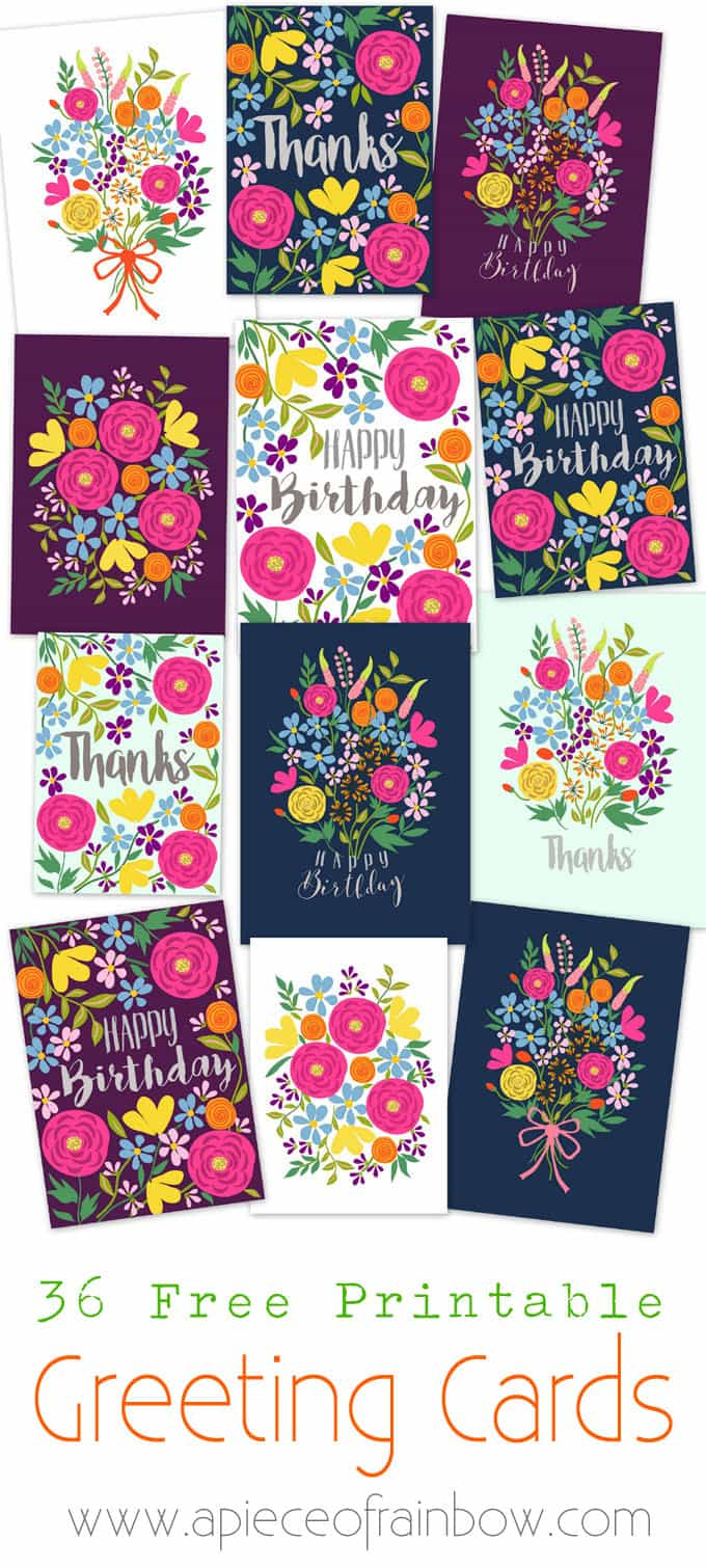 Free Printable Flower Greeting Cards - A Piece Of Rainbow - Free Printable Bday Cards