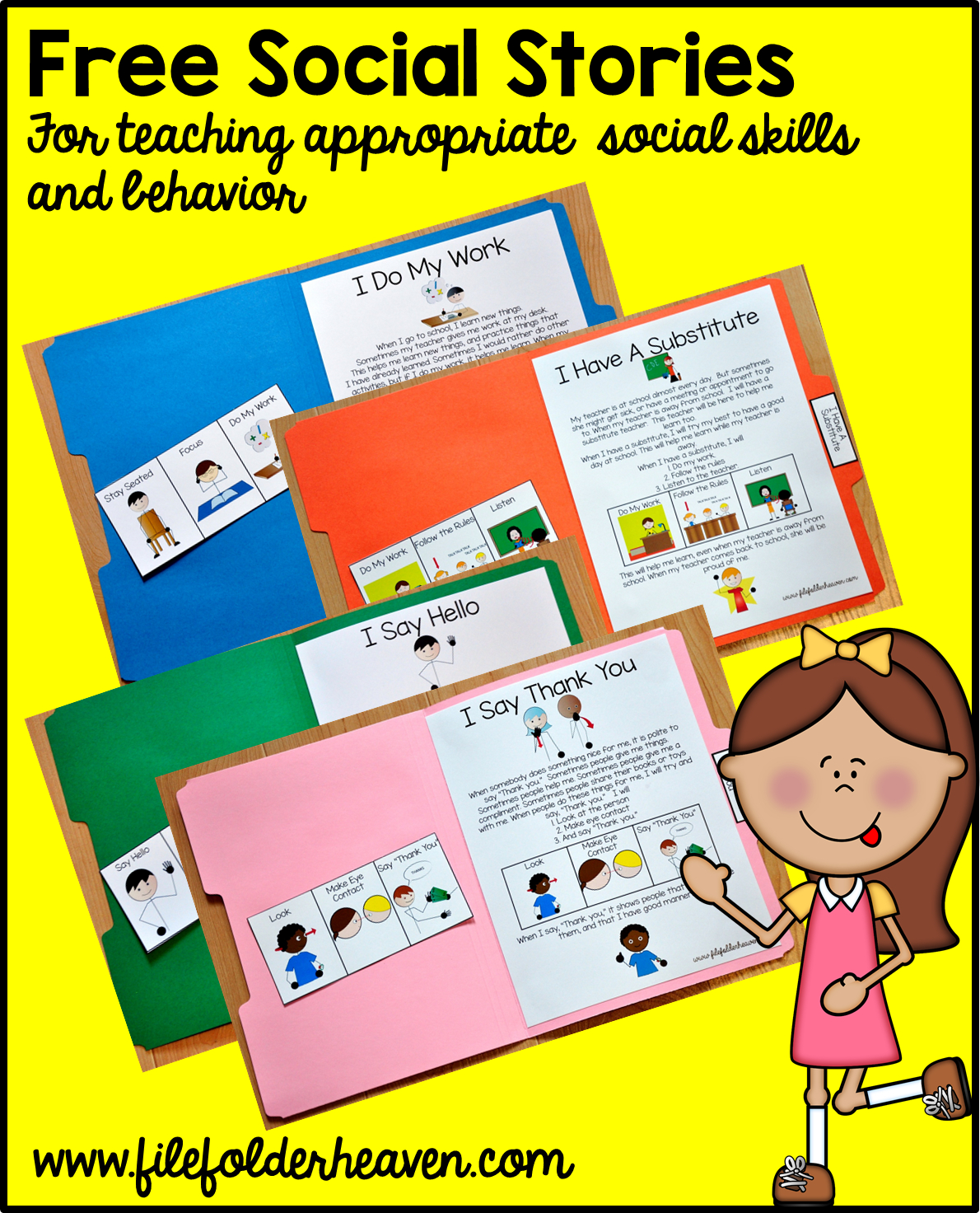 "Free, Printable ""folder Stories."" Simple One Page Social Stories - Free Printable Social Stories Making Friends"