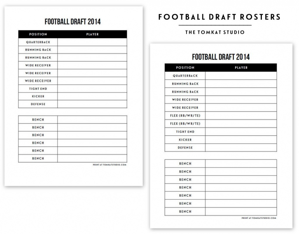 Free Printable Football Roster… | The Tomkat Studio Blog Inside Free - Free Fantasy Football Printable Draft Sheets