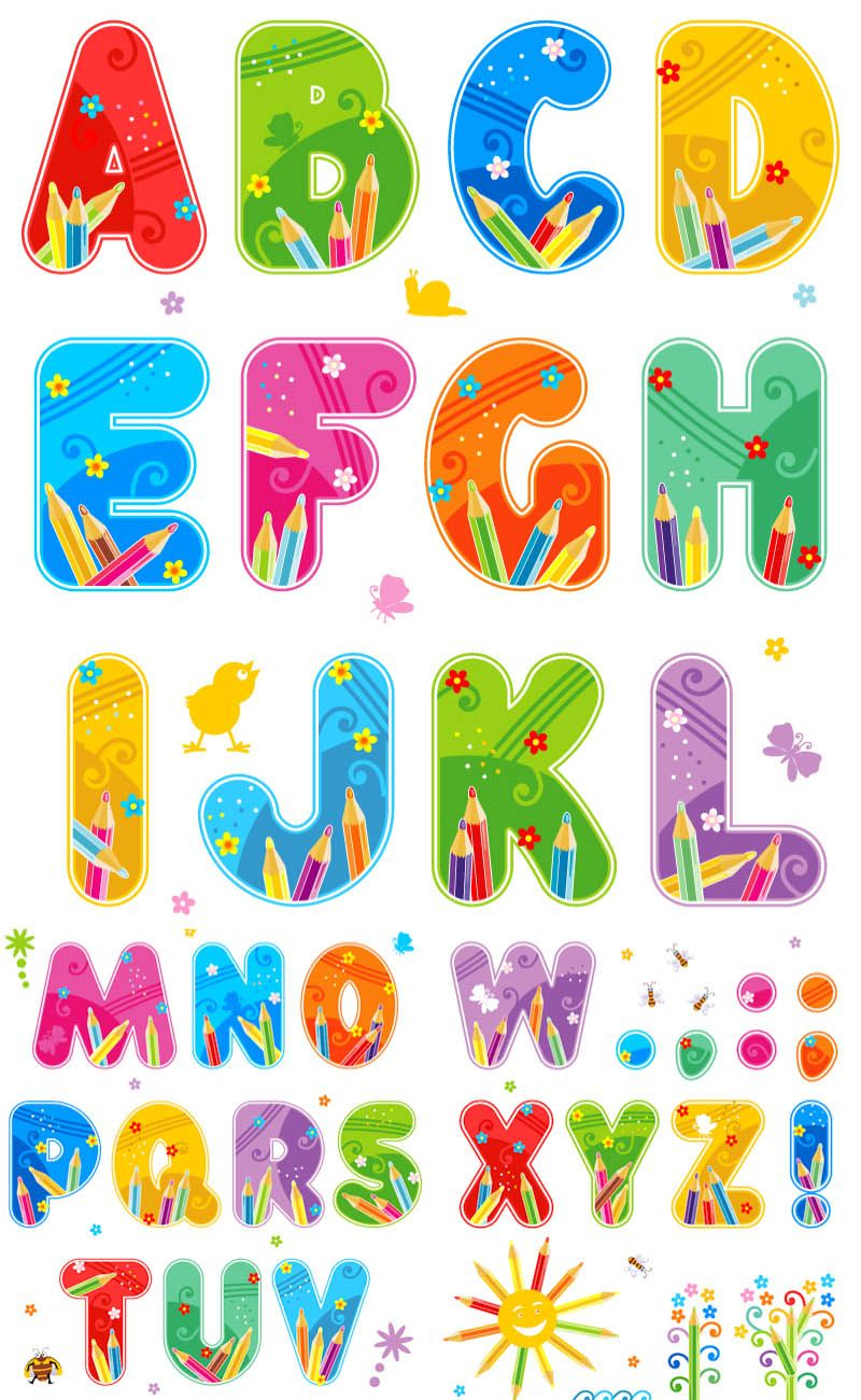 Free Printable Funny Alphabet Letters   Summer Alphabet Vector Set - Free Printable Photo Letter Art