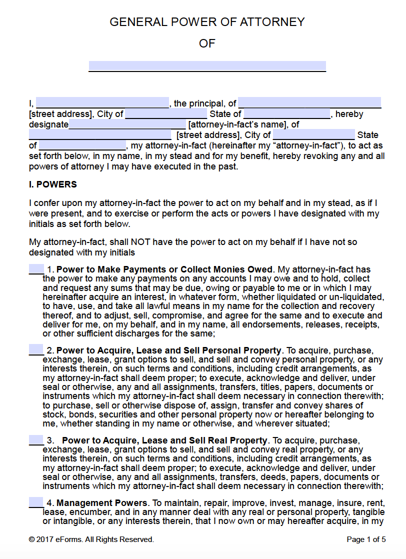 Free Printable General Power Of Attorney Forms - Free Printable Power Of Attorney Form Washington State