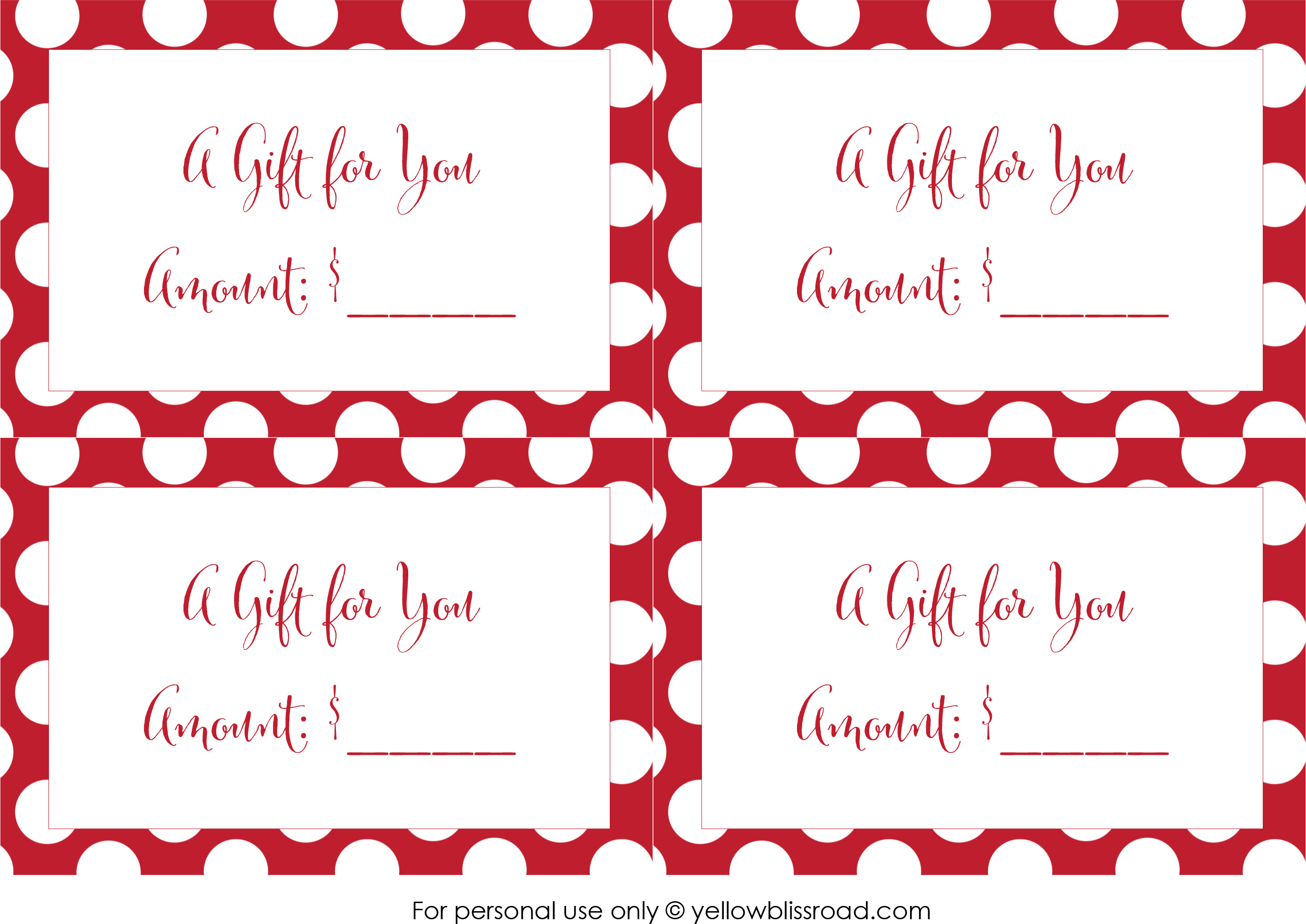 Free Printable Gift Card Envelopes - Yellow Bliss Road - Free Printable Gift Cards