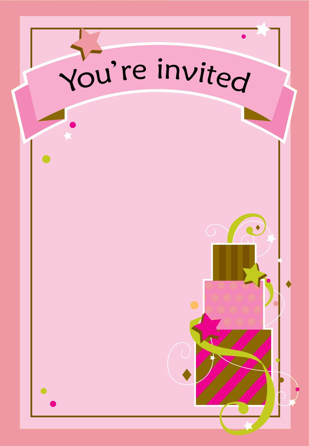 Free Printable Girl Fun Birthday Invitation | Cake & Cupcakes - Free Printable Girl Birthday Invitations