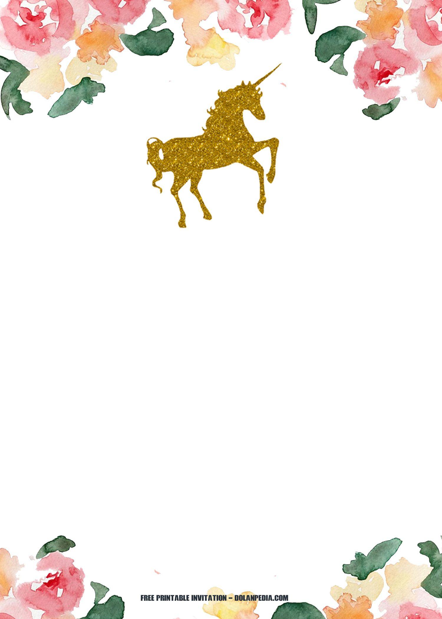 Free Printable Golden Unicorn Birthday Invitation | Birthday - Free Printable Unicorn Invitations