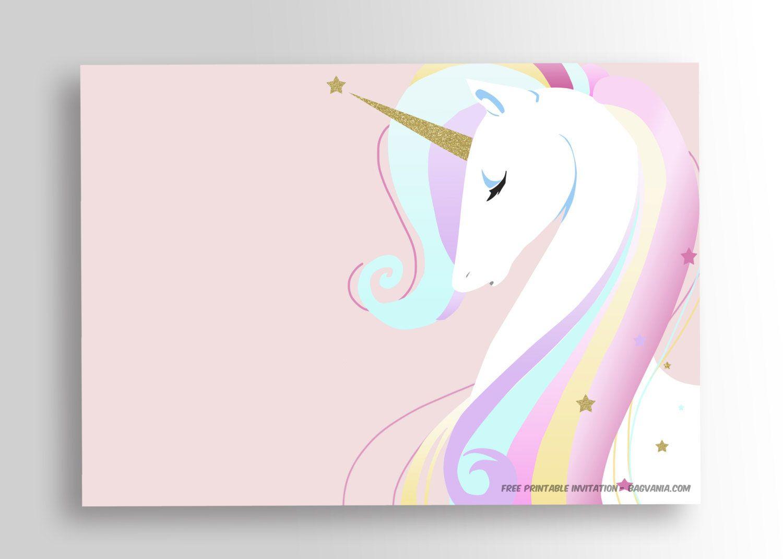 Free Printable Golden Unicorn Birthday Invitation | Party - Free Printable Unicorn Birthday Invitations