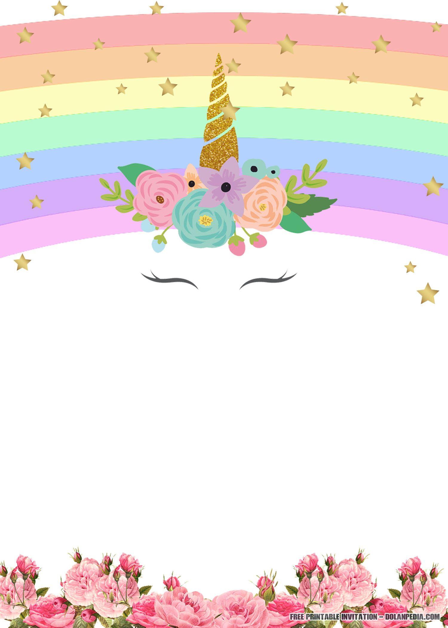Free Printable Golden Unicorn Birthday Invitation | Unicorn - Free Printable Unicorn Birthday Invitations