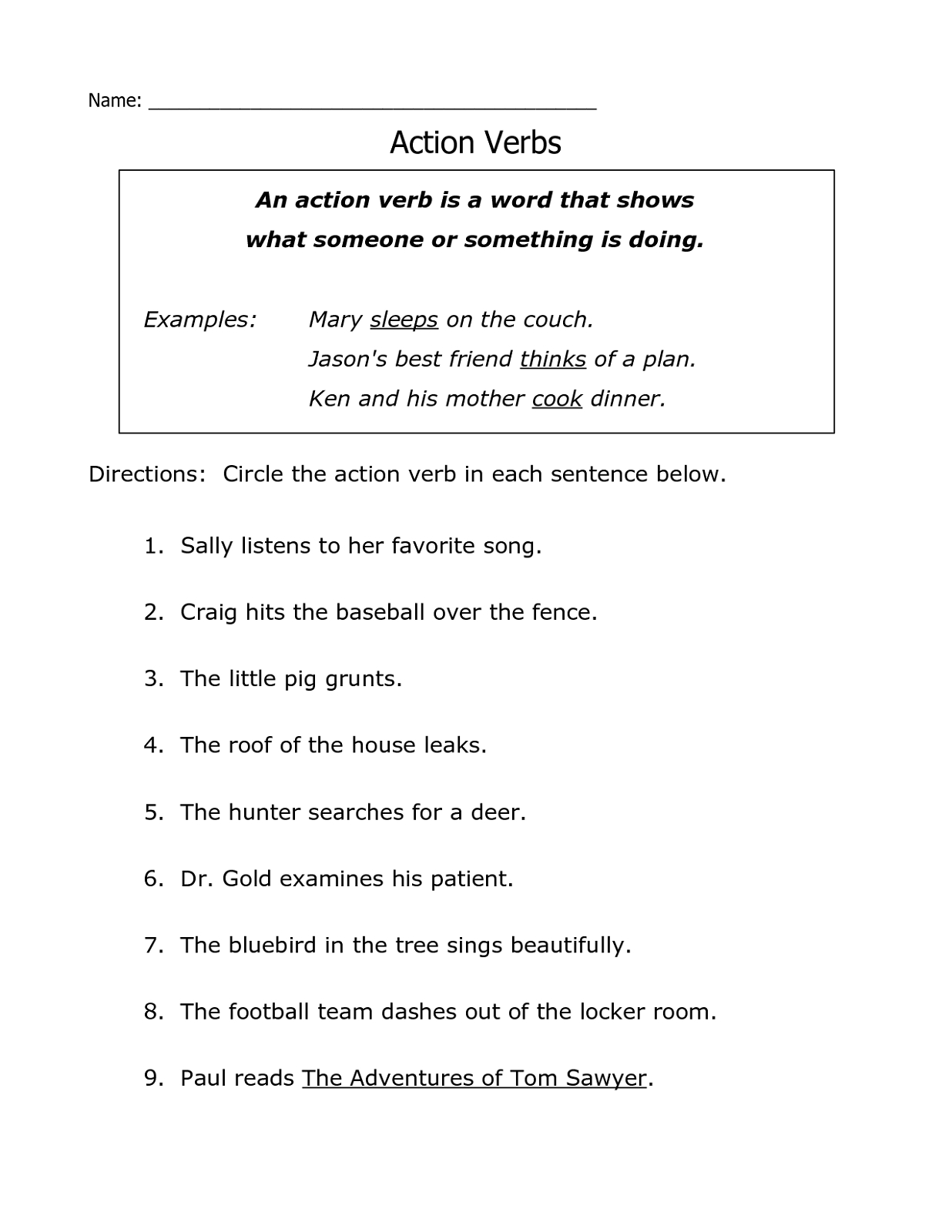 Free Printable Grammar Worksheets Action Verb | K5 Worksheets | Kids - Free Printable Grammar Worksheets