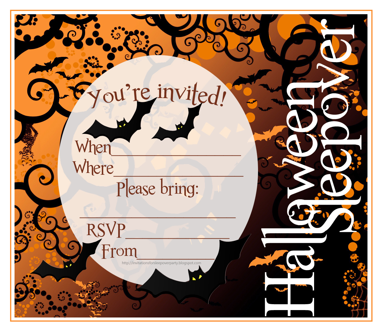 Free Printable Halloween Sleepover Invitations | Halloween Arts - Free Printable Halloween Invitations