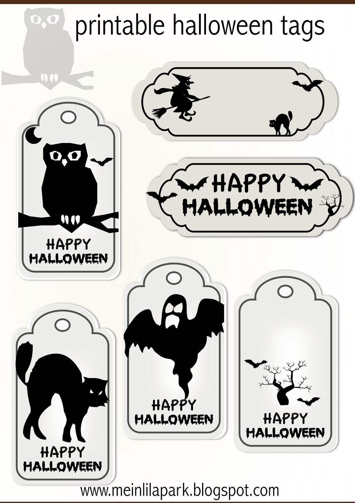 Free Printable Halloween Tags - Druckvorlage Halloween - Freebie - Free Printable Goodie Bag Tags