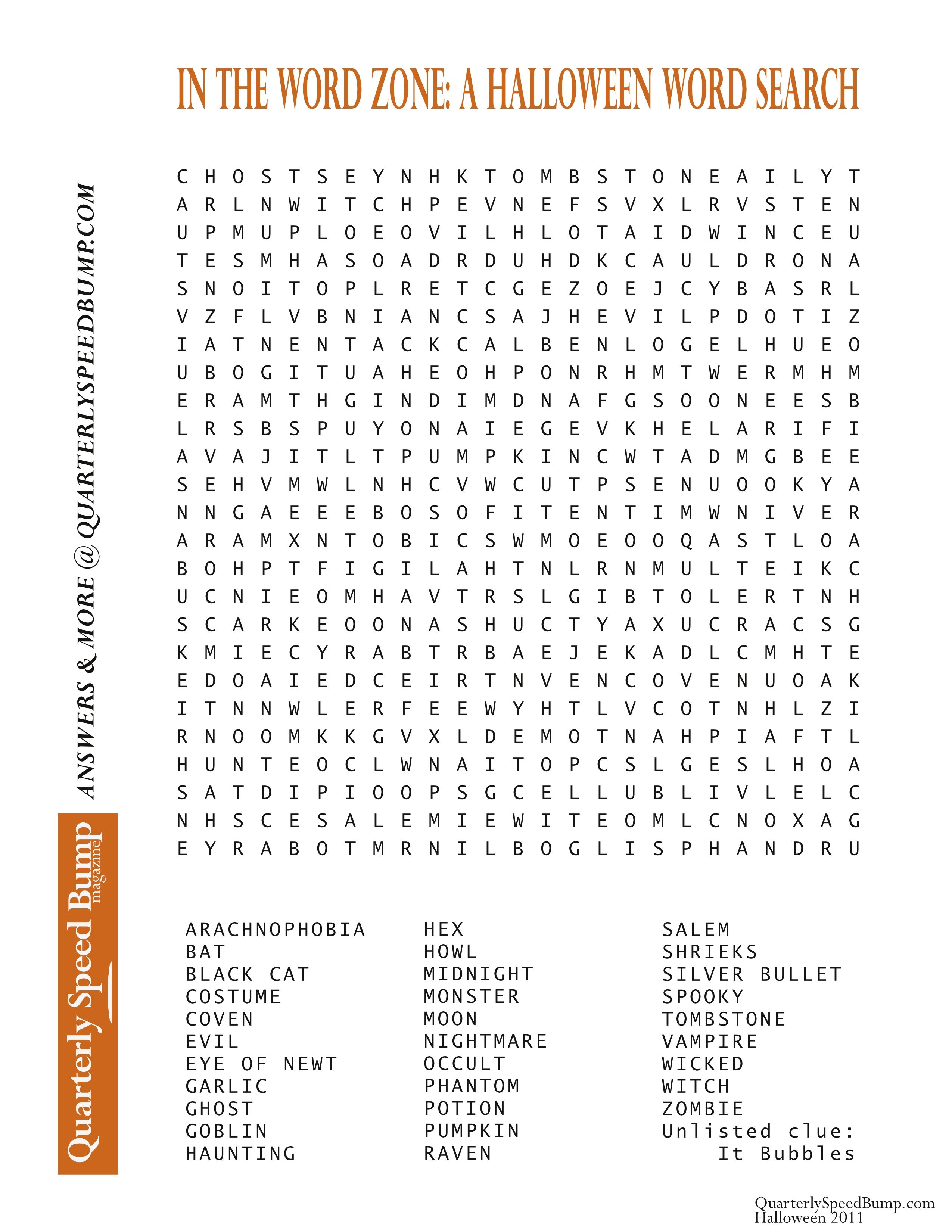 Free Printable Halloween Word Search Puzzles | Halloween Puzzle For - Free Printable Halloween Puzzles