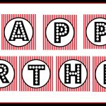 "Free Printable ""happy Birthday"" Banner / Red, Black & White   Free Printable Happy Birthday Banner"