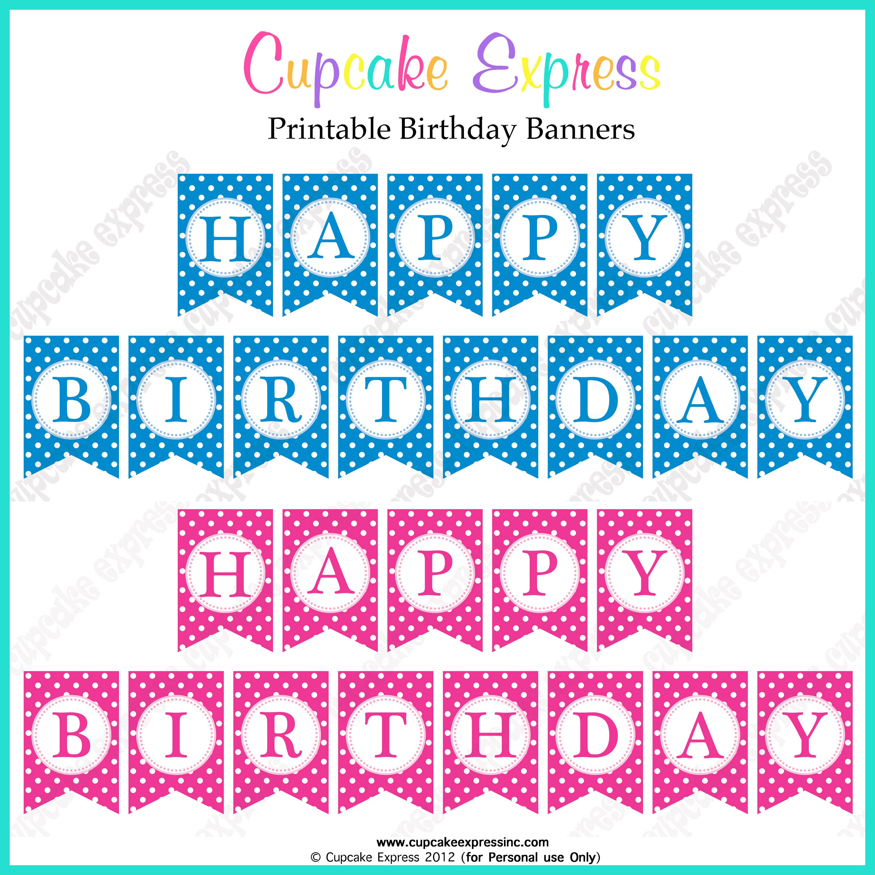 Free Printable Happy Birthday Banners Pink Blue | Free Printables - Free Printable Princess Birthday Banner