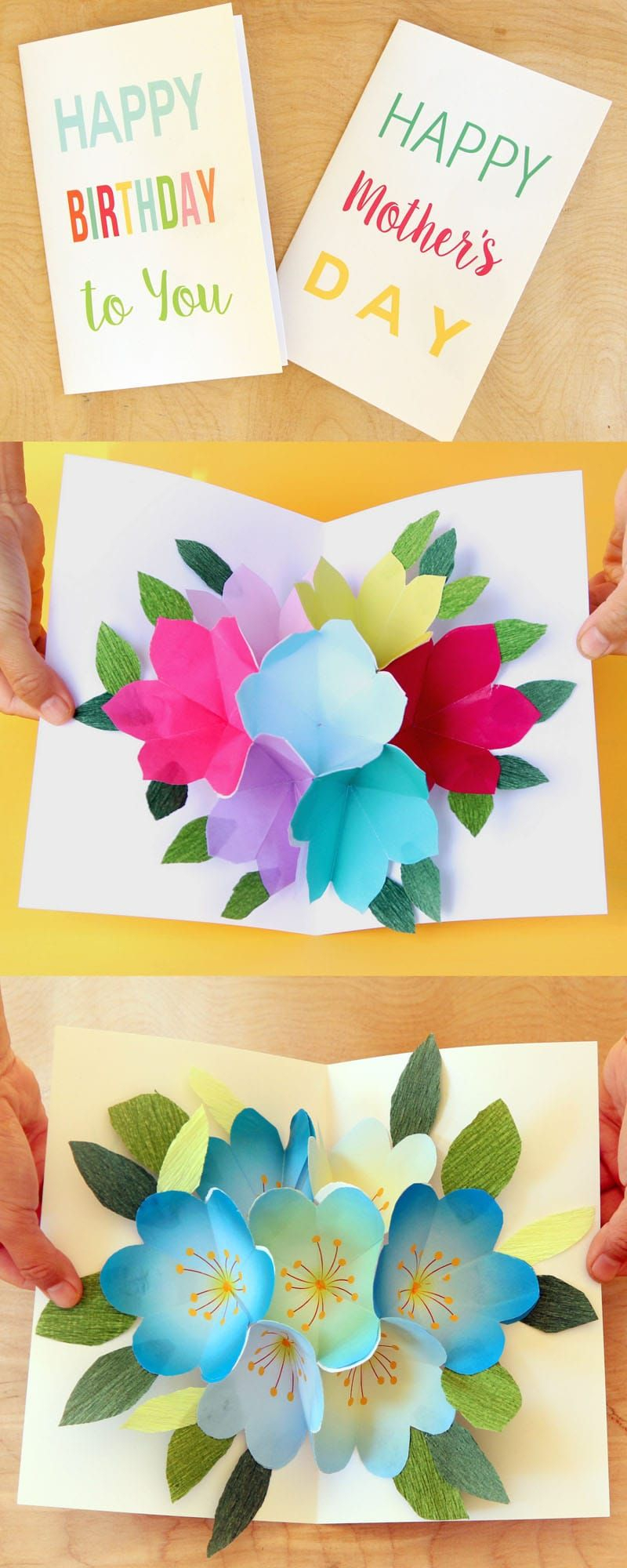 Free Printable Happy Birthday Card With Pop Up Bouquet   Printables - Free Printable Birthday Pop Up Card Templates